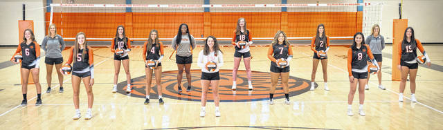The Wilmington High School volleyball team, from left to right, Brynn Bryant, assistant coach Jamie Bryant, Caroline Diels, Sydney McCord, Emily Self, assistant coach Tara Williams, Harlie Bickett, Marua Drake, Chailyn Johns, Emily Butcher, Banesa Morales, head coach Jenna Persinger, Vanessa Addison.