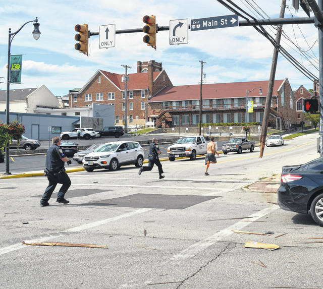 A police foot chase ensued shortly after the crash, resulting in the man being apprehended, police said.