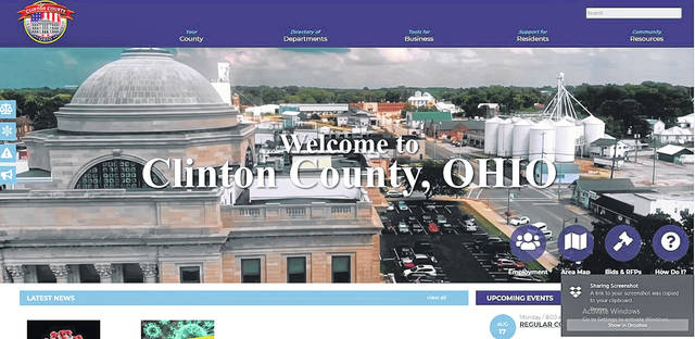 The homepage of the rebuilt Clinton County website features recorded video, much of it from above, highlighting various sights around the county.