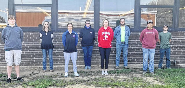 Clinton-Massie FFA leaders are, from left, Secretary Talon Bowman, VP of Agriculture Maggie Rinehart, Treasurer Delaney Schneder, VP of Community Austin Vonderhaar, Reporter McKinley Hale, President Jonathan Collins, VP of Leadership Ethan Gibson, and Sentinel Tyler Myers.