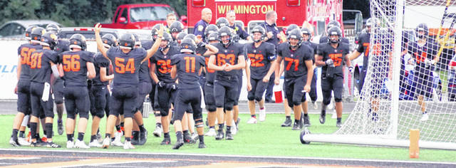 The Hurricane football team ready to take the field prior to the Week 1 game against East Clinton at Alumni Field.