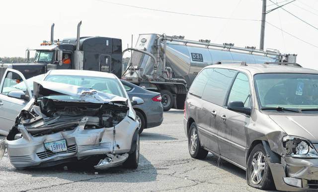 A woman was transported by the Wilmington Life Squad to Clinton Memorial Hospital following a collision Thursday afternoon at the intersection of Rombach Avenue and Progress Way. She was speaking prior to transport, a WPD officer said at the scene. The preliminary information at the scene is that the van ran a red light.