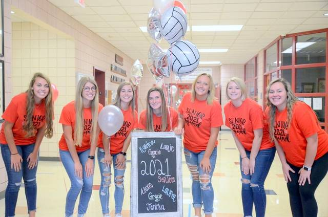 East Clinton seniors, from left to right, Gracie Boggs, Gracie Evanshine, Alexis Rolfe, Katrina Bowman, Jericka Boggs, Lanie Clark, and Lauren Hadley