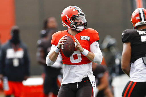 Cleveland Browns quarterback Baker Mayfield looks to throw during practice at the NFL football team's training facility Monday, Aug. 24, 2020, in Berea, Ohio. (AP Photo/Ron Schwane)