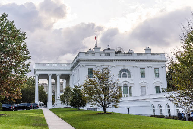 The White House is shown Friday, Oct. 2, 2020, in Washington. (AP Photo/Manuel Balce Ceneta)