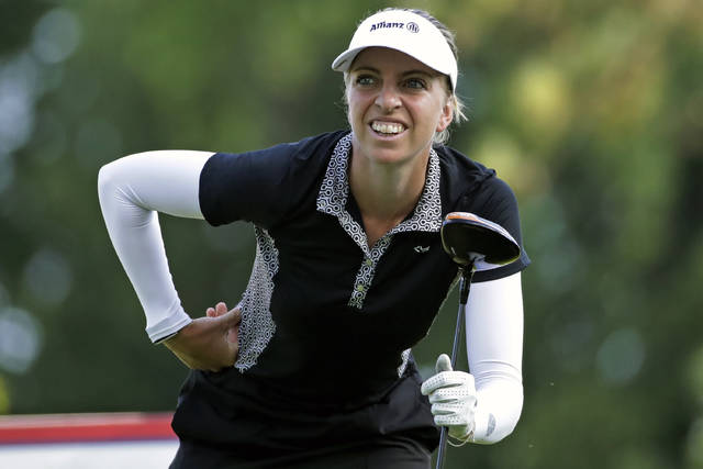 Sophia Popov of Germany watches her drive on the seventh hole during the first round of the Marathon Classic LPGA golf tournament Thursday, Aug. 6, 2020, at the Highland Meadows Golf Club in Sylvania, Ohio. (AP Photo/Gene J. Puskar)