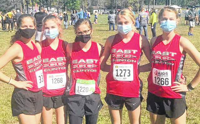 By finishing first in the SBAAC National Division, East Clinton earned the school's first-ever girls cross country championship last weekend. The Lady Astros, coached by Bob Henson and Bill Hrabak, are, from left to right, Carah Antek, Kailyn Mason, Kaylyn Deaton, Molly Seabaugh, Kenton Deaton.