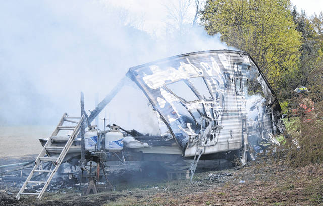 Firefighters from the Wilmington and Clinton-Highland Fire Departments responded to a report of a camper fully engulfed in flames at around 1:15 p.m. Thursday in the 6600 block of SR 73 South. They extinguished the fire before it affected the nearby propane tanks. No injuries were reported.