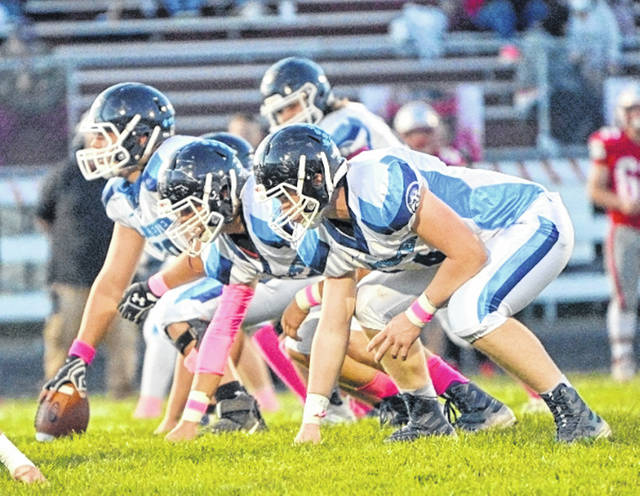 The Blanchester offensive line gets ready for the snap in last week's game against East Clinton.
