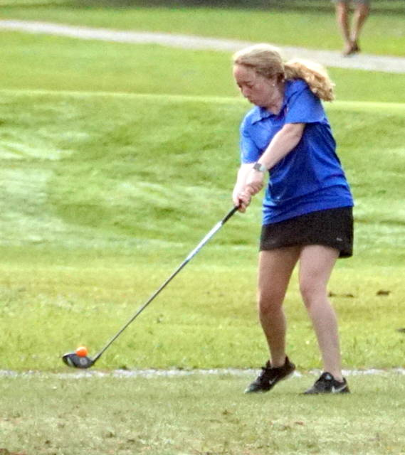 Clinton-Massie's Pearl Spurlock had a personal best 98 Wednesday in the Division II Southwest District girls golf championship tournament at Pipestone Golf Course.