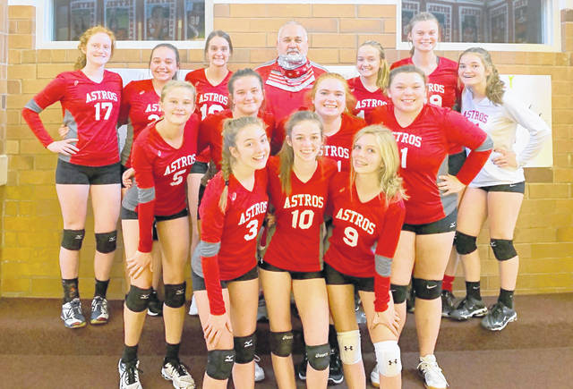 The East Clinton junior varsity volleyball team went undefeated against SBAAC National Division rivals this season. Team members are, from left to right, front row, Jordan Collom, Trinity Bain, Aubrie Simpson; middle row, Megan Tong, Eryn Bowman, Jenna Stanley, Regan Walker; back row, Jozie Jones, Cadence Howard, Lauren Runyon, coach Bob Malone, Lauren Stonewall, Bryston Roach, Savannah Tolle.