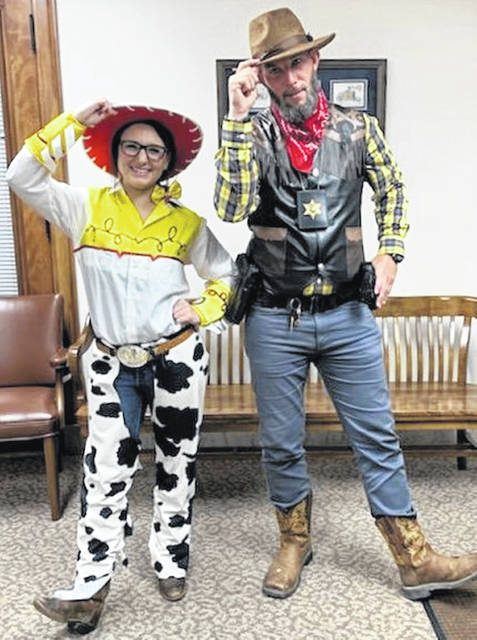 A tip of the hat from Clinton County Courthouse employees Kayla Love and Adam Green.
