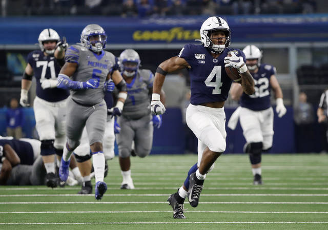 FILE - In this Dec. 28, 2019, file photo, Penn State running back Journey Brown (4) carries during the first half against Memphis in the Cotton Bowl NCAA college football game in Arlington, Texas. Brown says he has a heart condition that is forcing him to give up football. Brown posted Wednesday night, Nov. 11, 2020, on Twitter that he has hypertrophic cardiomyopathy, a disease that causes heart muscle to become abnormally thick and can make it more difficult to pump blood. (AP Photo/Roger Steinman, File)