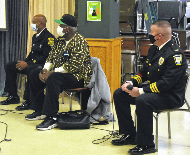 From left, WC alumnus and Cincinnati firefighter Dale Fulton, Bomani Moyenda of the Black Lives Matter Movement in the Miami Valley, and Wilmington Police Chief Ron Cravens comprised the perspective panel at WC's Red, Black and Blue Community Discussion.
