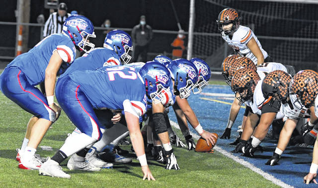 The Clinton-Massie football team will host Wyoming 7 p.m. Saturday in the Division IV Region 16 championship game at Frank Irelan Field. The Falcons and Cowboys are both 9-0 this season. The winner advances to the Division IV state semifinal round on Saturday, Nov. 14. In the photo, the Clinton-Massie offense (left) prepares to score against Waverly in last week's 31-28 victory.