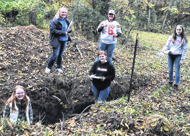 Hillsboro FFA members practice soil judging at a local soil pit. Pictured, from left, are Regan Eastes, Rylee Collins, Jase Huffman, Riley Stratton and Trinity Edenfield.