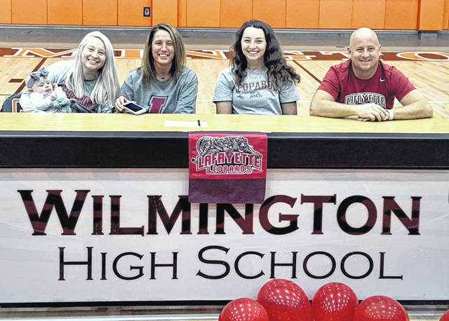 "Wilmington High School senior Harlie Bickett has signed a national letter of intent to play softball at Lafayette College. A member of the Patriot League, Lafayette is located in Easton, Pa. Bickett will pursue a degree in biology at Lafayette. ""Harlie Bickett is the kind of softball player you can build an entire program around,"" Wilmington High School head coach Brian Spurlock said. ""Lafayette College is very fortunate to be getting such a coachable, hardworking, and incredibly talented softball player."" In the photo, from left to right, Amelia and Jess Deitsch, Marty Bickett, Harlie Bickett, Josh Bickett."