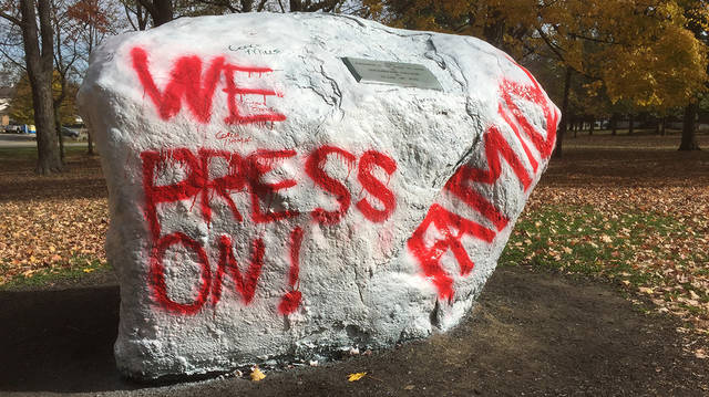 The Rock, located in front of Wilmington College's signature building, College Hall, gets painted several times throughout the year as a signal of the campus uniting together over an issue or cause. The Rock, which is normally painted a shade of Wilmington green, is currently painted red and white, to contrast norms in the fight for social justice.