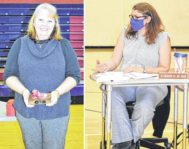 At the left, Clinton-Massie retiree Brenda Jones, a classroom aide, is honored for her work with students from 1994 to 2020. At right, CM Treasurer Carrie Bir presents the district's five-year financial forecast.
