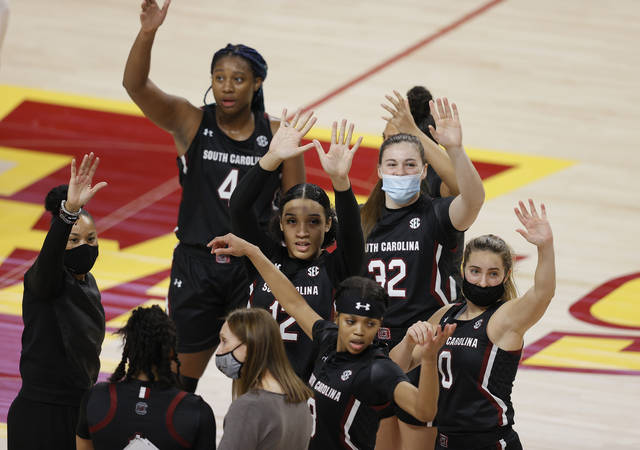 South Carolina waves to their fans after their 83-65 win over Iowa State in an NCAA college basketball game, Sunday, Dec. 6, 2020, in Ames, Iowa. (AP Photo/ Matthew Putney)