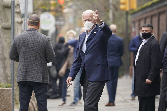 President-elect Joe Biden leaves a doctor's appointment at Pennsylvania Hospital in Philadelphia, Saturday, Dec. 12, 2020. Biden was in for a routine two-week post-injury follow up on his fractured foot. (AP Photo/Susan Walsh)