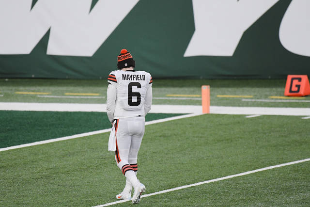 Cleveland Browns quarterback Baker Mayfield leaves the field after an NFL football game against the New York Jets, Sunday, Dec. 27, 2020, in East Rutherford, N.J. The Jets won 23-16. (AP Photo/Bill Kostroun)