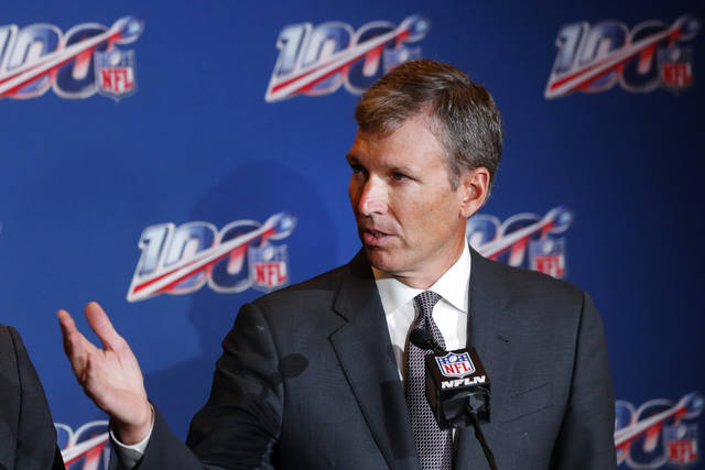 """FILE- In this Oct. 15, 2019, file photo, Dr. Allen Sills, the NFL's chief medical officer, speaks during a news conference at the at the football league's fall meeting in Fort Lauderdale, Fla. The league is pressing forward with its goal of playing the Super Bowl as scheduled in Tampa on Feb. 7. What often seemed improbable during the COVID-10 pandemic has become quite achievable. """"Contact tracing is the thing people are not talking the most about, but it is foundational to our success,"""" said Sills. (AP Photo/Wilfredo Lee, File)"""