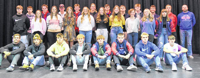 Clinton-Massie's first-team All-SBAAC fall sports athletes gathered for a photograph recently. In the photo, from left to right, are, front row, Joe Baughman, Carson Vanhoose, Blake Ireland, Marty Kreider, Dakota Gasaway, Logan Meyers, Trevor McGuinness, Jacob Ryan; second row, Brody Muterspaw, Miranda Crawford, Cadin Reveal, Natalie Hillman, Kennedy Thompson, Nora Voisey, Ashley Doyle, Taylor Anderson, Pearl Spurlock, Vanessa Asher; third row, Donald Brewer, Carter Frank, Dawson Conley, Sam Binau, Charley Hale, Kody Zantene, Cayden Clutter, Daelin Maple, Colton Doyle, Colton Trampler, coach Tim McGraw. First team selections not present for the photo were Abby Schneider, Kenzie Avery, Aiden Eades, Carter Euton, Ethan Johnson, Michael Moritz, Kinsey Beam, and coach Dan McSurley