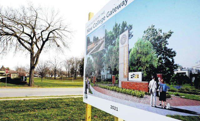 A sign announcing the future site of a Wilmington College Gateway was placed at the corner of East Main and College Streets last week, and has piqued the interest of many passersby.