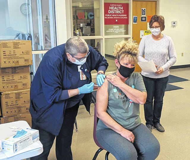 Susan Jacobs, RN, who is volunteering to help with vaccinations at the CCHD, is vaccinated.