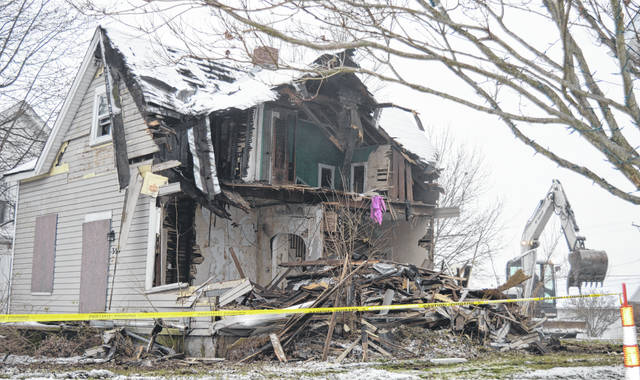 As part of the ongoing Clean Up Clinton County initiative, a house at 354 Columbus Street in Wilmington was demolished Friday. The abandoned house was owned by the local Land Bank, said Clinton County Assistant Prosecutor Justin Dickman.