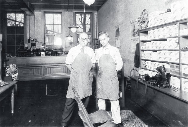 Albert and Morris Snider in their shoe store at 31 E. Locust St., Wilmington, in 1930. Can you tell us more? Share it at info@wnewsj.com. The photo is courtesy of the Clinton County Historical Society. Like this image? Reproduction copies of this photo are available by calling the History Center. For more info, visit www.clintoncountyhistory.org; follow them on Facebook @ClintonCountyHistory; or call 937-382-4684.