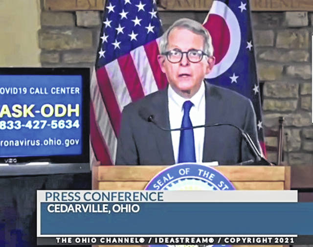 Ohio Gov. Mike DeWine speaks to the state Tuesday afternoon.