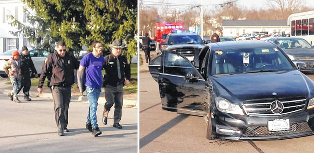A Mercedes-Benz sedan reported stolen from Dayton reached speeds of 120 mph, and 70 mph on Rombach Avenue, finally coming to a stop in Wilmington late Wednesday afternoon in the 700 block of South South Street near Midway and Randolph streets. The driver, age 22 of Dayton, faces multiple charges, and four teenage passengers are in custody. At least two people in the car, after the car was stopped, fled on foot down Midway before being apprehended. Officers continued to process the scene, including the Mercedes-Benz. A WPD cruiser and several other vehicles were struck, but no injuries were reported. The driver faces multiple charges; the juveniles were in custody awaiting their parents.