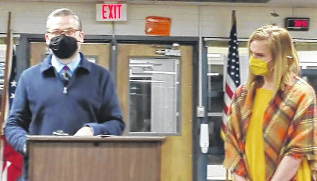 From left, Restorative Practices Coordinator Justin Goodman and Director of Pupil Services Natalie Harmeling give a presentation about social-emotional learning.