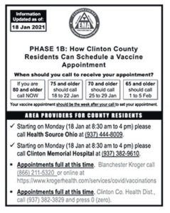 Local vaccine/vaccination info as of Monday includes Blanchester Kroger plus CMH, HealthSource and CCHD