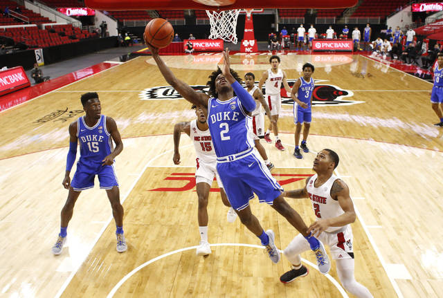 Duke's DJ Steward (2) shoots against North Carolina State  during an NCAA college basketball game at PNC Arena in Raleigh, N.C., Saturday, Feb. 13, 2021. (Ethan Hyman/The News & Observer via AP)