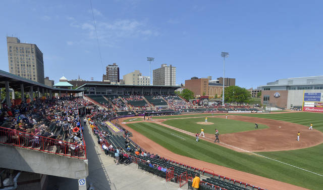 FILE - In this June 4, 2019, file photo, the Erie SeaWolves host the Altoona Curve for an Eastern League baseball game at UPMC Park in Erie, Pa. Major League Baseball has reorganized its minor leagues in a 120-team regional alignment, MLB announced, Friday, Feb. 12, 2021.  The leagues have not yet been named and Major league owners, Commissioner Rob Manfred and his staff have not decided whether to retain the traditional names of the leagues, such as Pacific Coast League. (Greg Wohlford/Erie Times-News via AP, File)