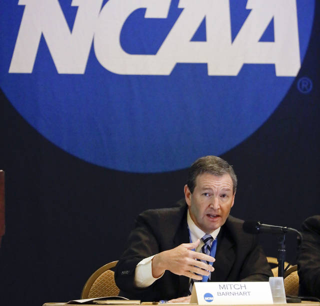 """FILE - In this Jan. 19, 2017, file photo, Mitch Barnhart, athletic director at Kentucky, takes part in a panel discussion at the NCAA Convention in Nashville, Tenn. There is no need to worry about geography in this year's NCAA Tournament. Get ready for plenty of talk about the so-called """"S curve"""" instead. And do not worry — it's not that complicated. (AP Photo/Mark Humphrey, File)"""