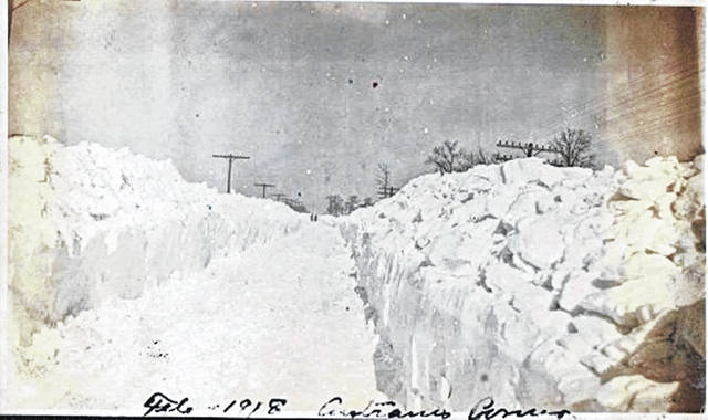 Local resident David Mack Fife dropped off this photograph Tuesday morning showing another heavy February snow — from 1918. The handwriting at the bottom indicates the location is Antram's Corner. Does anybody know where that is/was? There is an Antram Road in northern Union Township, which links up with U.S. 68 North and with State Route 134 North.