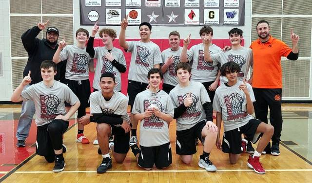 The Rodger O. Borror eighth grade boys basketball team, tournament champions of the SBAAC American Division, from left to right, front row, Logan Phillips, Michael Streety, Aven Patel, Jake Stephens, Jamie Conley; back row, Landen Phillips (score keeper), Zane Smith, Kayden Barnett, Malachi Cumberland, Luke Achtermann, Bryant Conley, Bryson Schutte, coach Eric Conley