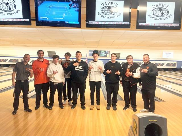 The Wilmington High School boys bowling team at the Division I Sectional at Crossgate Lanes Friday afternoon.