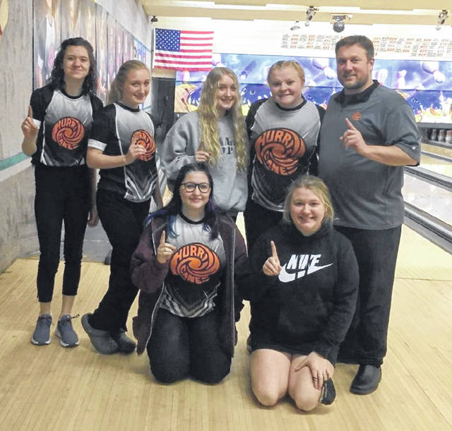 The Wilmington High School girls bowling team won the SBAAC American Division girls bowling tournament Saturday at Royal Z Lanes. The Lady Hurricane shared overall American Division honors with New Richmond. In the photo, from left to right, front row, Kennedy Harcourt, Ariel Comberger; back row, Tori Piatt, Alexia Frazier, Kenzie Frazier, Haylee Wright, head coach Joe Gigandet