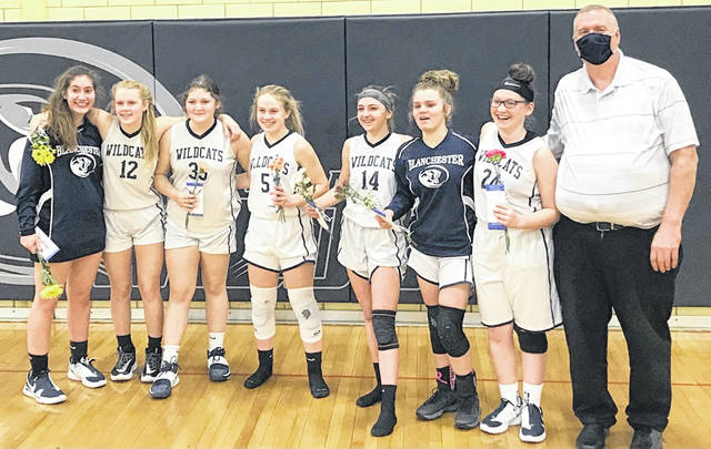 The Blanchester eighth grade girls basketball team is 17-0 on the season and will play 7 p.m. Wednesday for the league tournament championship at the BHS gym. Team members are, from left to right, Torie Potts, Alayna Davenport, Audri Byrom, Maggie Grant, Maddie Gillman, Kylee Hamm, Quynn Dawley, coach Jamey Grogg. Team member Aubrey Gustin was not present for the photo.