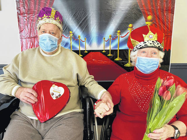 Every Valentine's Day Continental Manor in Blanchester crowns a king and queen at its Royal Ball. Prior to the event every resident and staff member gets to cast a vote and this year's winners are King Bruce Seaman and Queen Haney Burris. Activity Staff, Lisa Beach and Lynn Wall served up a meal fit for a king of pork roast, potatoes, carrots and biscuit, followed by mini cheesecakes for dessert. Each resident received a teddy bear, donated by Rebecca Waits, as well as several valentines sent from local Girl Scouts troops and others.