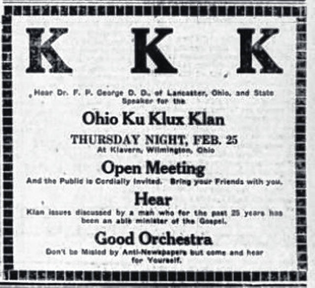 This advertisement ran in the Feb. 23, 1926 edition of the News Journal. The last KKK ad ran in October 1926.