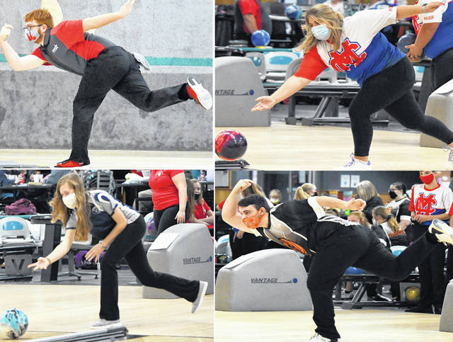 The SBAAC boys and girls bowling championships will be held Saturday at Royal Z Lanes. In the photo, clockwise from top left, East Clinton's Andy Gilliland, Clinton-Massie Gracie Rumbarger, Wilmington's Isaac Martni and Blanchester's Kayla Lanham.