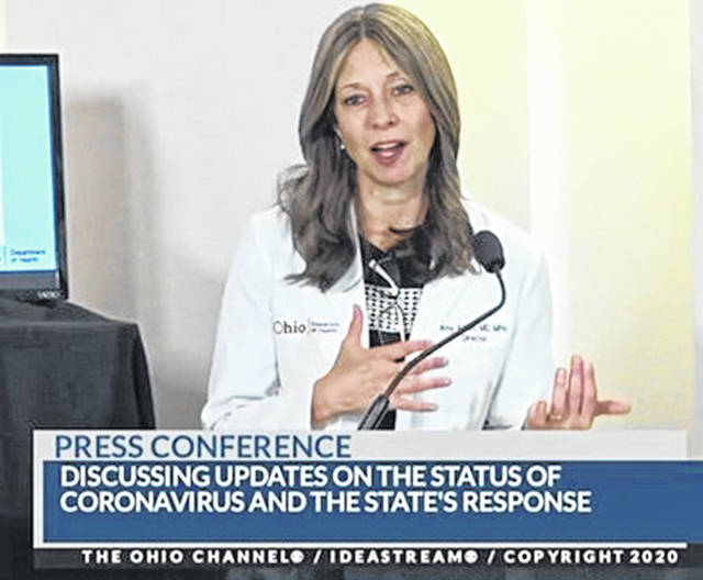 Dr. Amy Acton speaks during one of Gov. Mike DeWine's news briefings in June.