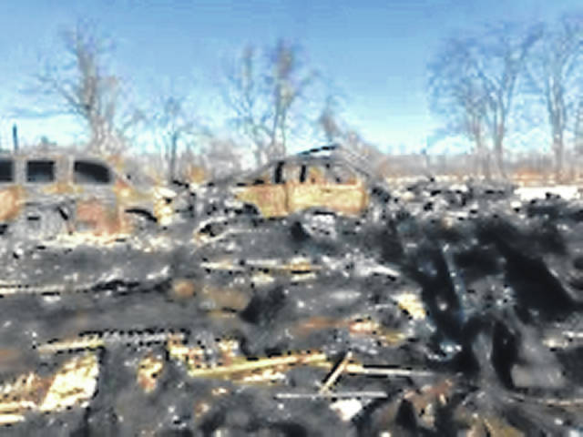 The aftermath of the fire the following morning.