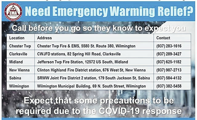Shown is a list of warming centers in Clinton County. Expect some precautions to be required there due to COVID-19, including masks.